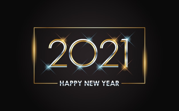 Felice anno nuovo dorato 2021 con luce splendente