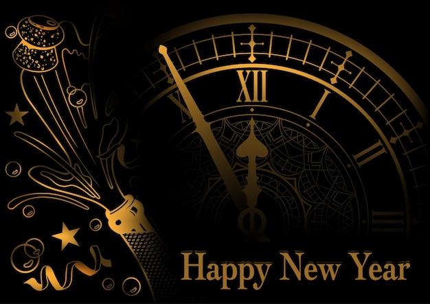 Auguri di felice anno nuovo dorato con orologio e bottiglia di champagne