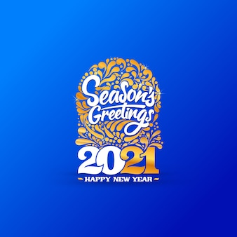 Logo dorato di felice anno nuovo.