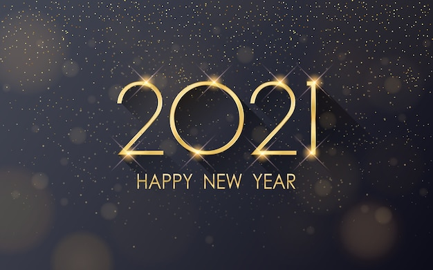 Felice anno nuovo dorato con glitter che cadono