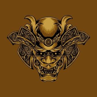 Illustrazione di samurai oni testa d'oro