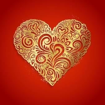Cuore d'oro su sfondo rosso illustrazione