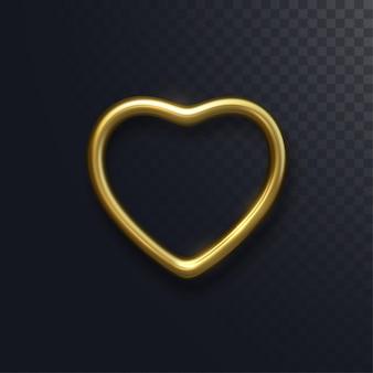 Forma di cuore d'oro isolato sul nero.