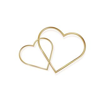 Cuore d'oro il giorno di san valentino, su uno sfondo bianco. cuore in metallo romantico dorato in minimalista. illustrazione.