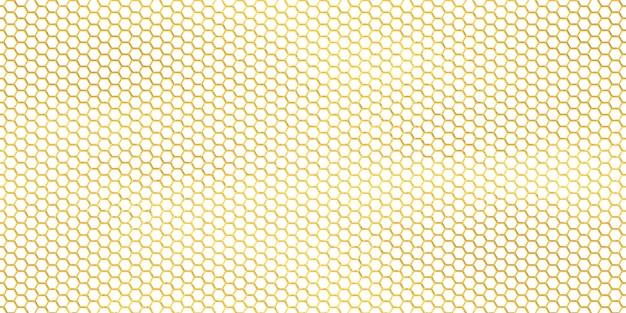 Reticolo senza giunte delle linee di esagono dorato, fondo geometrico di vettore. carta da parati colori oro e bianco, nido d'ape