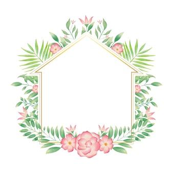Cornice dorata per la casa con ghirlanda floreale colorata ad acquerello