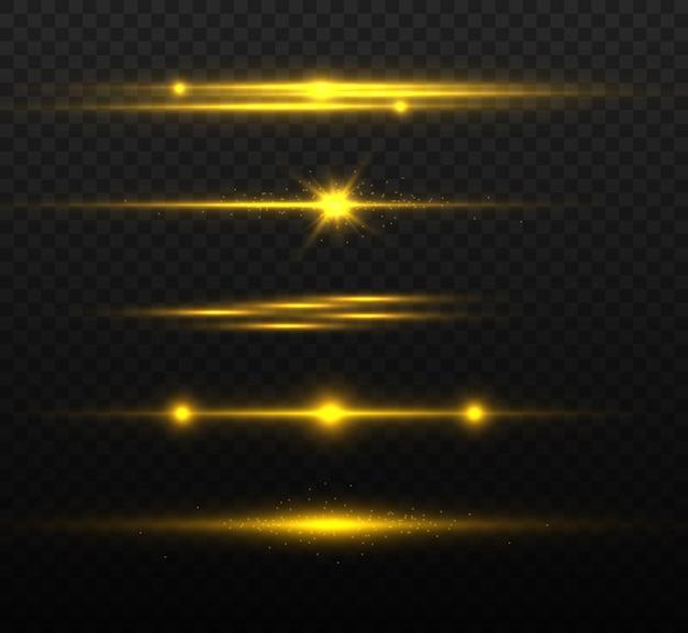 Pacchetto di razzi di lenti orizzontali dorati, raggi laser, bagliori di luce. linee scintillanti astratte luminose.