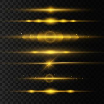 Set di razzi di lenti orizzontali dorate, raggi laser