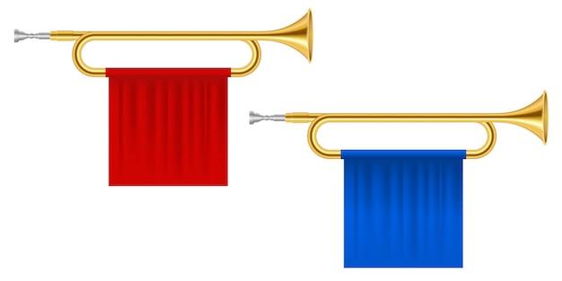 Trombe di corno d'oro isolate su bianco
