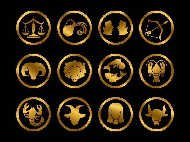 Segni zodiacali oroscopo d'oro. set di simboli di astrologia