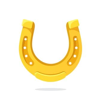 Ferro di cavallo d'oro per buona fortuna illustrazione vettoriale