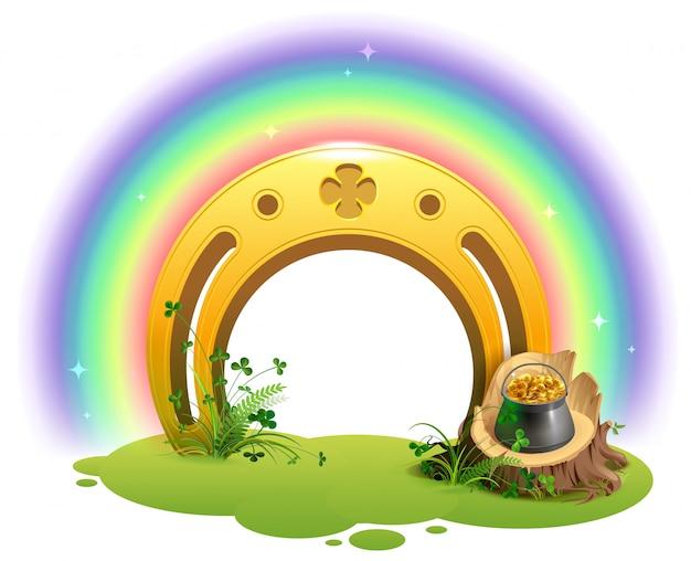 Ferro di cavallo dorato, arcobaleno e pentola d'oro simbolo del giorno di san patrizio
