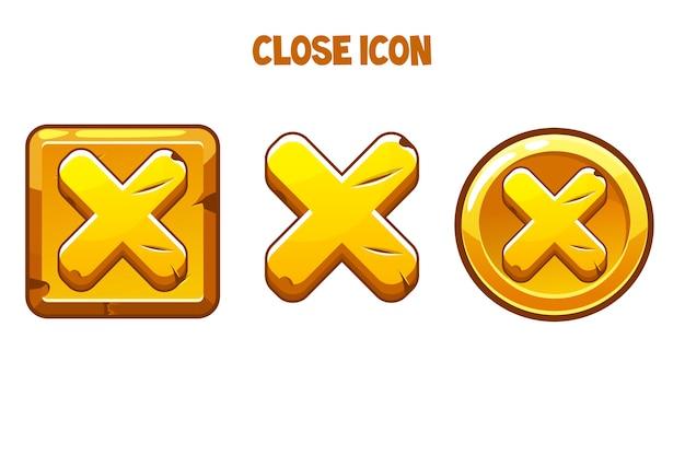 Le icone dorate si chiudono con una croce per l'interfaccia.