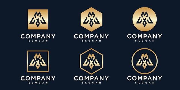 Collezione logo lettera m dorata iniziale