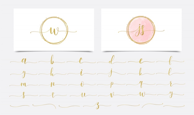 Acquerello golden initials con design dorato logo lineare