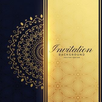 Sfondo invito d'oro con decorazione mandala