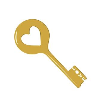 Chiave d'oro con l'iscrizione amore e cuore. icona e decorazione per san valentino, matrimonio, vacanza. illustrazione piatta vettoriale su sfondo bianco