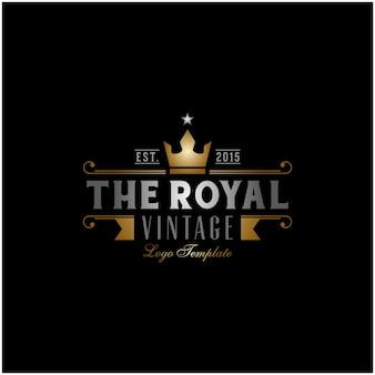 Golden king crown royal vintage retro classic luxury label logo design