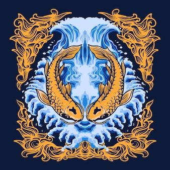 Illustrazione vettoriale di pesce koi dorato