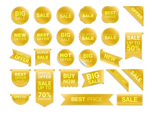 Etichette dorate isolati su sfondo bianco.