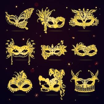 Set di maschere per feste in maschera di pizzo dorato
