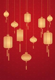 Lanterne dorate calendario cinese per il nuovo anno del bue biglietto di auguri flyer invito poster verticale illustrazione vettoriale