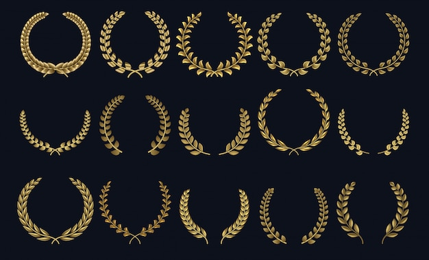 Corona d'alloro dorata. corona realistica, premio del vincitore delle forme delle foglie, emblemi 3d stemma foliato. sagome di alloro greco romano e corone di ulivo onorano i successi