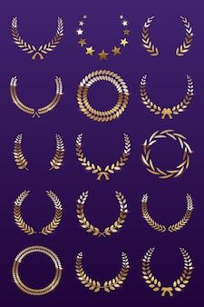 Corone di alloro d'oro su sfondo viola, set di corona di premi foliate per festival di campionato o cinema.