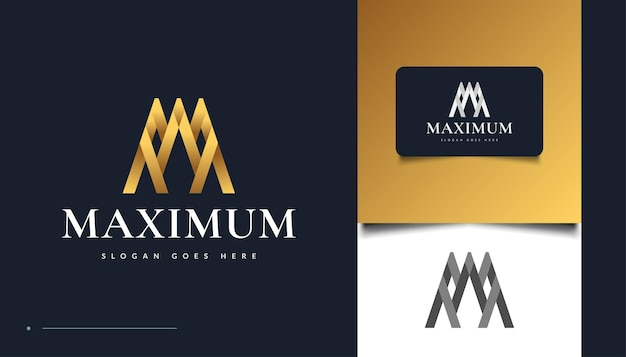 Lettera d'oro m logo design con concetto astratto. logo della lettera m per l'identità aziendale aziendale