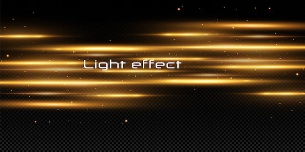 Effetto luce dorata. raggi laser astratti di luce. raggi di luce al neon caotici.