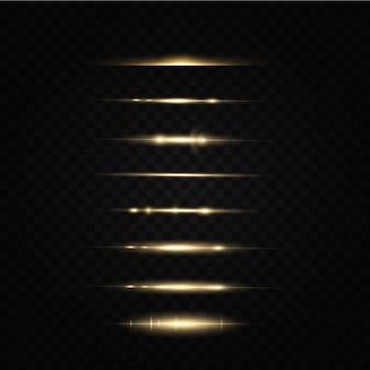 Effetto luce dorata raggi di luce laser astratti