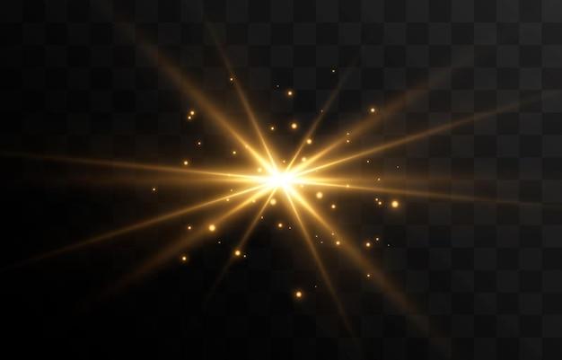 Luce dorata un lampo di luce un bagliore magico particelle di scintille raggi del sole del sole png luce png