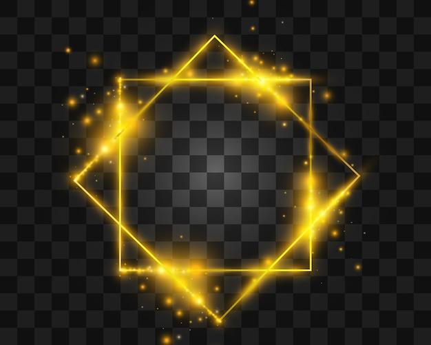 Cornici ed elementi luminosi dorati. belle cornici. banner luminosi.