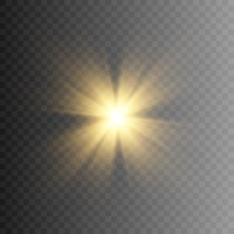 Luce dorata. un lampo di luce dorato. splendere. le luci di un sole. luce png. illuminazione dorata.