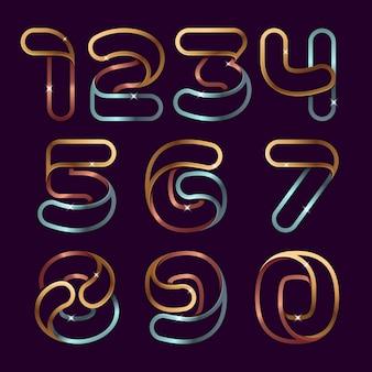 Set di numeri di linea dorata. alfabeto di lusso