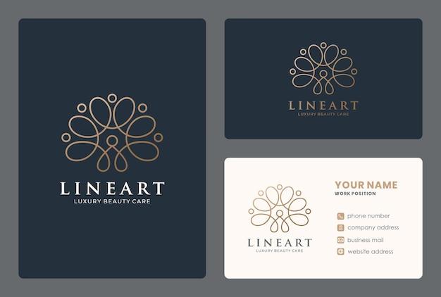 Golden lineart logo per salone, spa, yoga, benessere, massaggi, rifacimento, cure di bellezza.