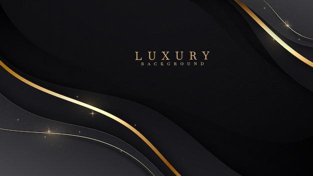 Lusso di linee dorate su sfondo di colore nero. elegante stile realistico taglio carta 3d. illustrazione vettoriale sulla sensazione preziosa e bella.
