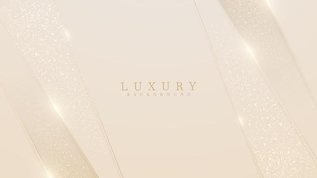 Lusso di linee dorate su sfondo color crema. elegante stile realistico taglio carta 3d. illustrazione vettoriale sulla sensazione morbida e bella.