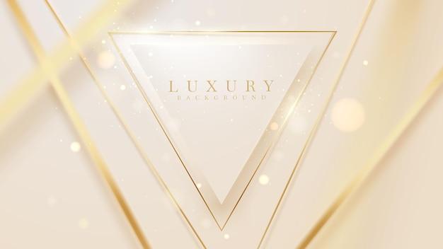 Linee dorate a forma triangolare con effetti di luce scintillanti, sfondo di lusso in stile 3d, scenografia con illustrazione vettoriale.