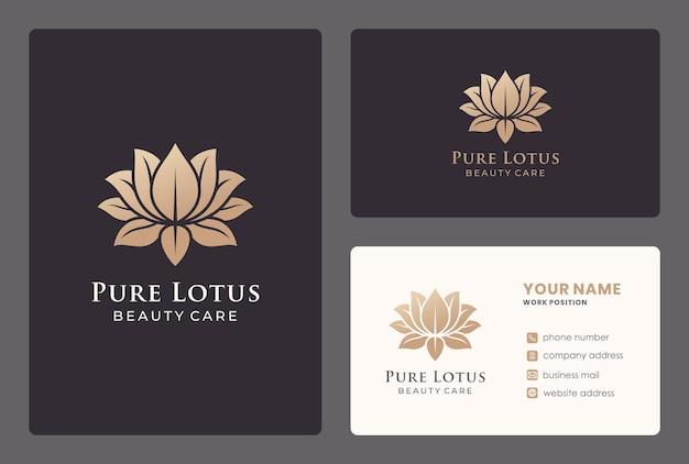 Fiore di loto dorato, cure di bellezza, design del logo del salone con modello di biglietto da visita.