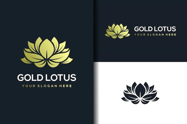 Modello di progettazione di logo di loto dorato