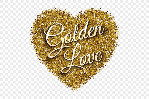 Golden love text tinsel heart background
