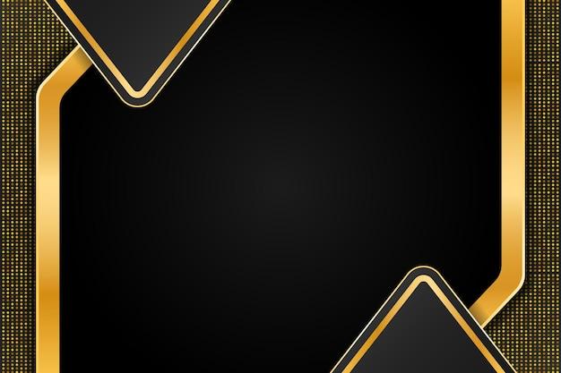 Sfondo di lusso dorato con doppio mezzo triangolo e decorazione a punti astratti dorati