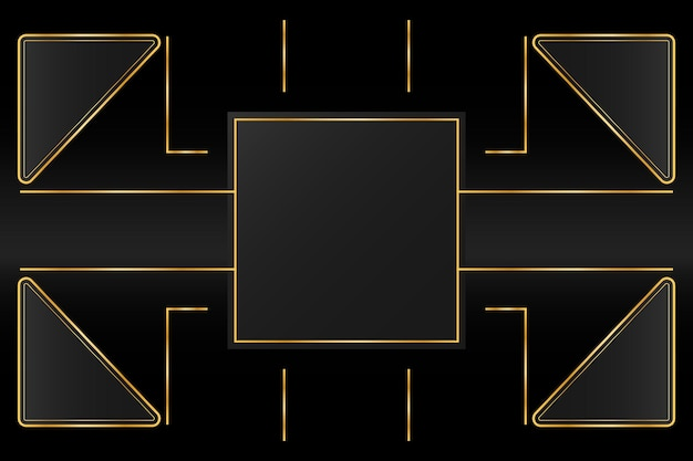 Sfondo di lusso dorato con linea geometrica del percorso dell'oro