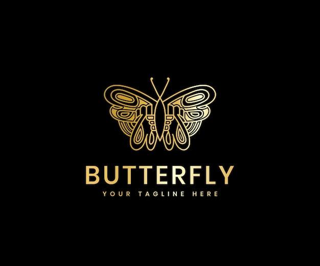 Bellezza femminile di lusso dorato modello di progettazione del logo di lusso della linea di farfalle per il marchio cosmetico