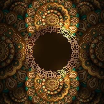 Decorazione floreale dorata di lusso della mandala