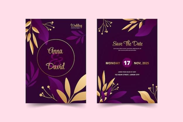 Modello di invito a nozze realistico di lusso dorato