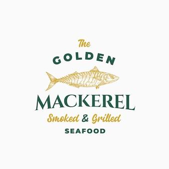 Sgombro dorato affumicato e pesce alla griglia. segno astratto, simbolo o modello di logo.