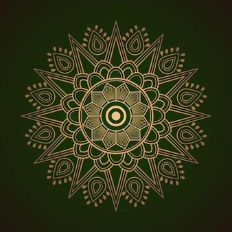 Mandala d'oro su sfondo astratto verde