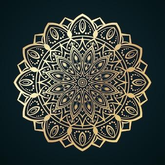 Modello mandala dorato con motivi marocchini o islamici